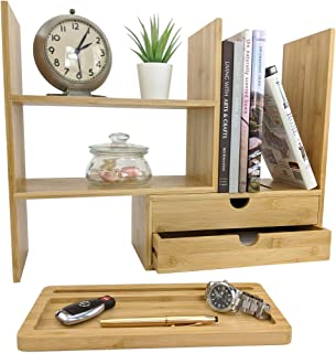 $39 » Sherwood & Co. Bamboo Desktop Bookshelf Organizer - Adjustable Countertop Bookcase with 2 Drawers Fully Assembled Includes Bonus Phone/Tablet Stand