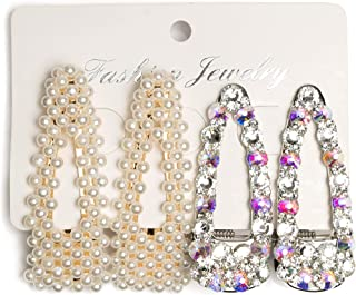 4 PCS Elegant Hair Clips Hair Barrettes for Women Girls,Pearls and Rhinestone Crystals