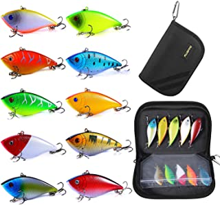 PLUSINNO Fishing Lures for Bass, 10pcs Hard Bait Minnow VIB Lure Lures with Portable Carry Bag, 3D Fishing Eyes Swimbait Lure Popper Crankbait Fishing Bait Vibe Sinking Lure for Bass Trout Walleye