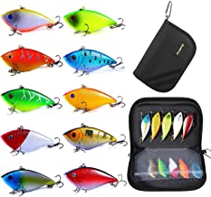 PLUSINNO Fishing Lures for Bass, 10pcs Hard Bait Minnow VIB Lure Lures with Portable Carry Bag, 3D Fishing Eyes Swimbait L...