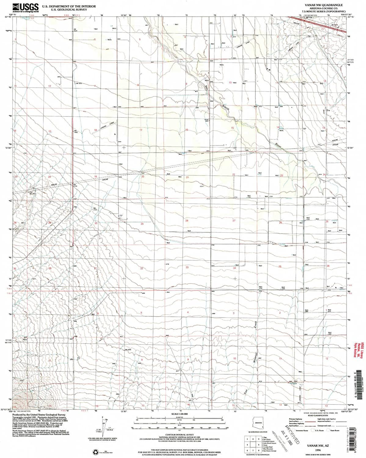 Vanar NW AZ topo map, 1 24000 Scale, 7.5 X 7.5 Minute, Historical, 1996, Updated 2003, 26.8 x 22 in