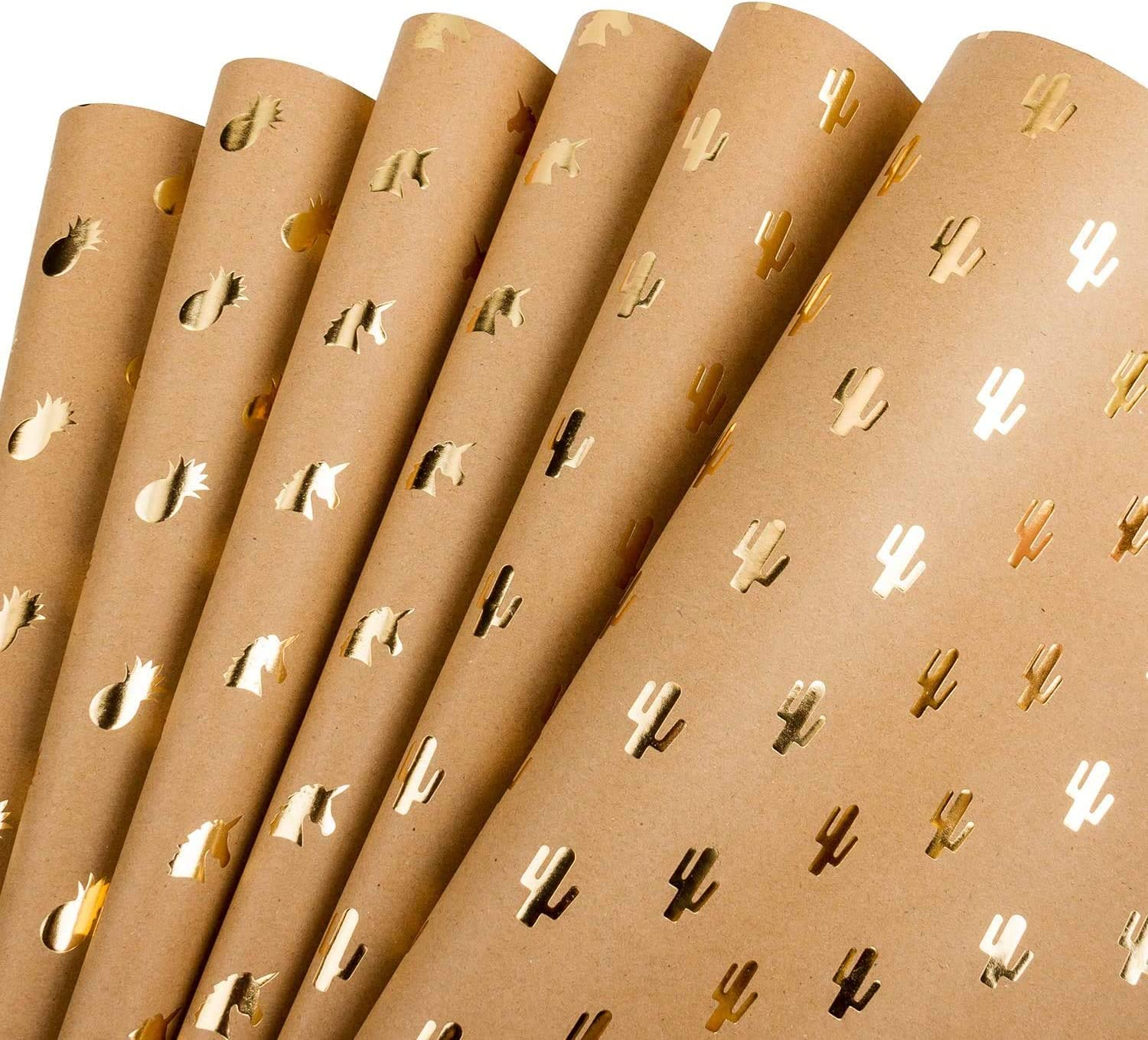 Holiday Paper Table Runner Brown Kraft Wrapping Paper Roll Metallic Gold Christmas Gift Wrap Hand Printed Wrapping Paper Eco Gift Wrap