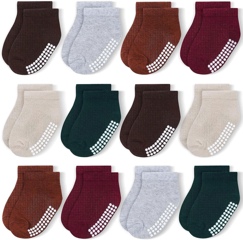JAKIDAR 12 Pairs Baby Socks Non-Slip Toddler Socks Grips for Baby Boys Girls - Ankle Low Cut Cotton Socks for Babe Kids