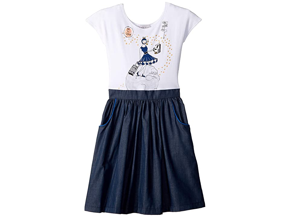 fiveloaves twofish Space Traveler Madeline Dress (Little Kids/Big Kids) (Denim) Girl