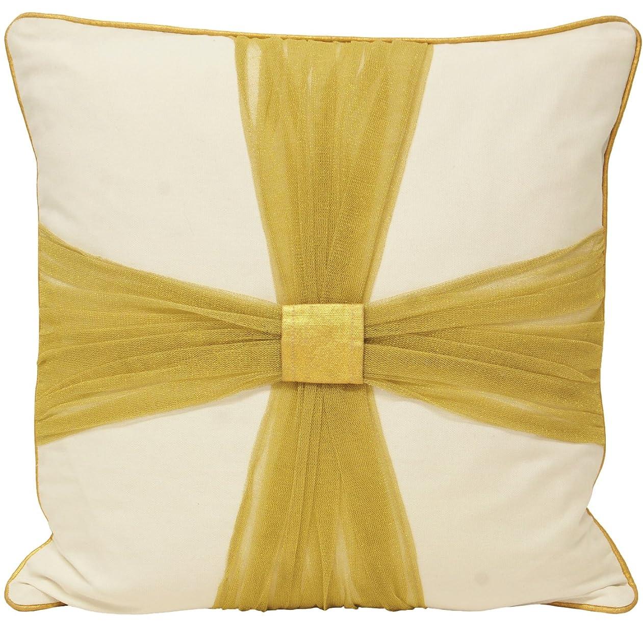 シーフード多様な肥沃な(リーヴァ?ホーム) Riva Home プレゼント リボン クッションカバー (カバーのみ) インテリアのアクセント おしゃれなクッションカバー (45x45cm) (ゴールド)