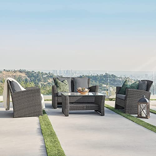 new arrival BELLEZE Brasillia Outdoor 4 Pcs sale Patio Furniture Sets Wicker Rattan Sectional Sofa with Cushions 2021 & Glass Top Table, Gray online