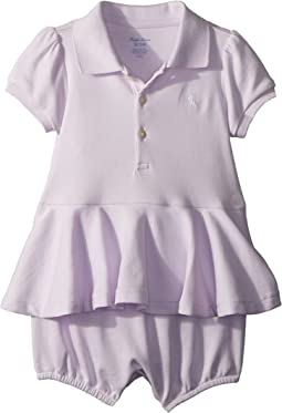 Ralph Lauren Baby - Cotton Peplum Polo Romper (Infant)