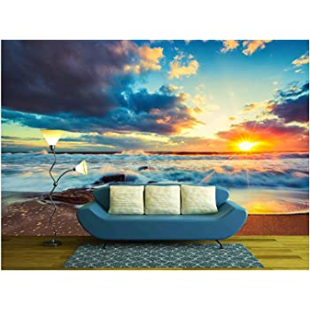 wall26 - Beautiful Cloudscape Over The Sea, Sunrise Shot - Removable Wall Mural   Self-Adhesive Large Wallpaper - 100x144 inches