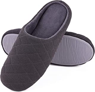 Men's Comfort Quilted Cotton Memory Foam House Slippers Slip On House Shoes
