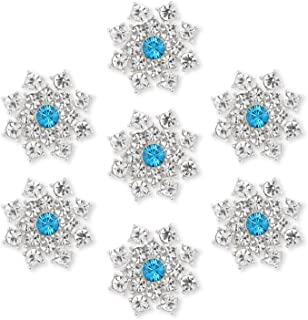 Silver Crystal Snowflake Rhinestone Embellishments - YIMIL Flat Back Rhinestone Embellishments for Buttons Brooches Crafts...