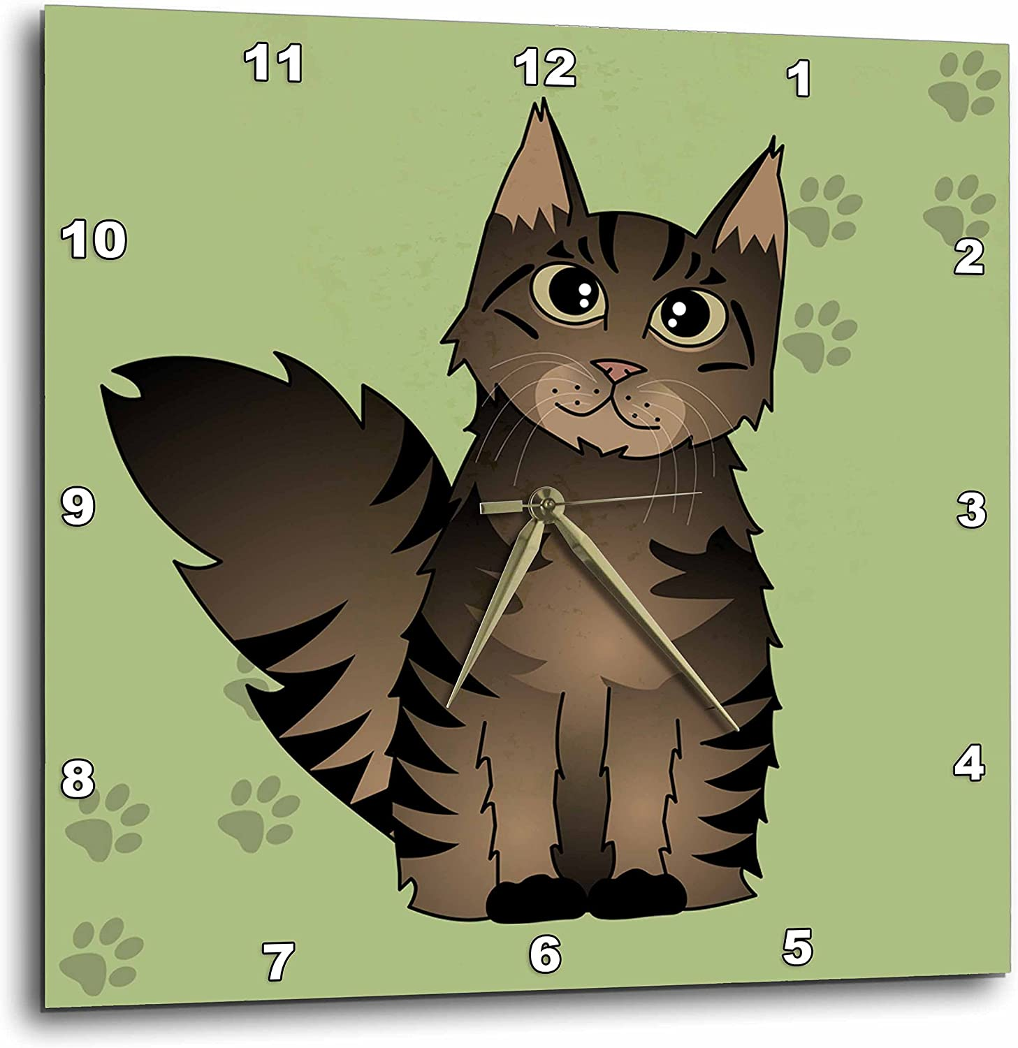 3dRose 3D Rose Cute Maine Tabby-Green Cat-Brown Limited time for free shipping Cartoon Free Shipping New wit Coon