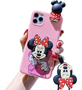 HikerClub iPhone SE 2020 Case, iPhone 7/8 Case - Minnie Mickey Mouse Case 3D Cartoon Protective Cover Cute Soft TPU Case with Phone Stand and Detachable Lanyard for Girls (Minnie)