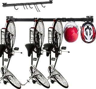 Mu Bike Rack Garage Storage 3 Bike Hooks and 2 Accessories Hooks Wall Mount Bicycle Hanger Indoor Space-Saving Holds Up to...