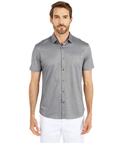 Vince Camuto Short Sleeve Sport Shirt with Hacking Pocket (Grey Solid) Men