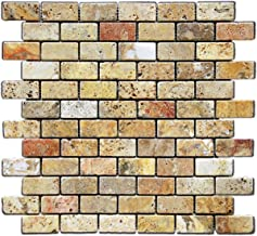 Scabos 1 X 2 Tumbled Travertine Brick Mosaic Tile - Box of 5 sq. ft.