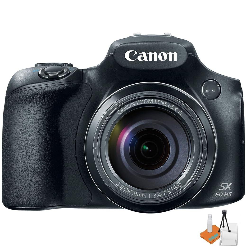 Canon Powershot SX60 16.1MP Digital Camera 65x Optical Zoom Lens 3-inch LCD Tilt Screen (Black) w/ Digital & More Starters Kit xcvcbdmmpz