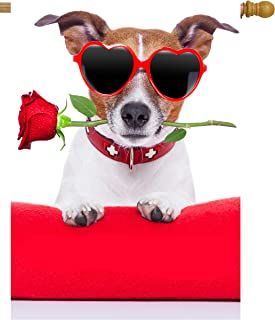 "ShineSnow Happy Valentines Day Funny Hipster Dog with Red Rose Flower House Flag 28"" x 40"" Double Sided Polyester Welcome ..."