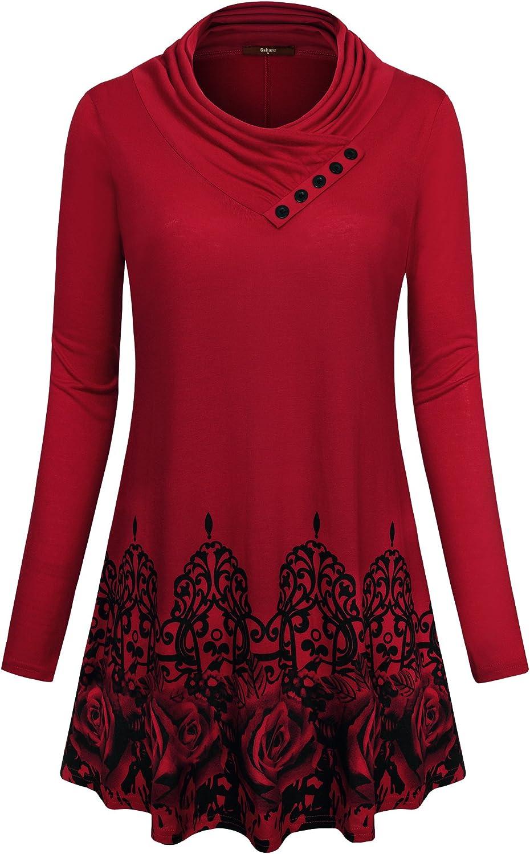 Gaharu Women's Long Sleeve Button Printed Surprise price Casua Cowl Mail order cheap Neck Floral