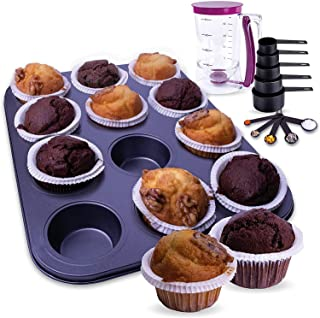 iumano Set of 3 Baking Tools Set: Muffin Tray, Measuring Cups and Spoons Set & Batter Dispenser. 12 Cavity Non Stick Muffi...