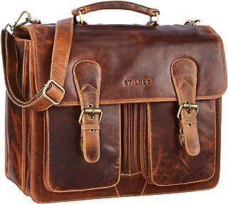 """STILORD Karl"""" Aktentasche Herren Lehrertasche Bürotasche Laptoptasche Umhängetasche XL Businesstasche Vintage groß aus echtem Leder"""