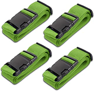 Green Luggage Belts Suitcase Straps Adjustable and Durable, Name Card, Travel Case Accessories, 4 Pack