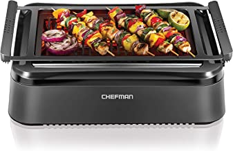 Chefman Electric Smokeless Indoor Infrared Instant Heating Technology Adjustable Temperature Knob for Customized BBQ Grilling, Dishwasher-Safe Non-Stick Grate and Drip Tray, Black