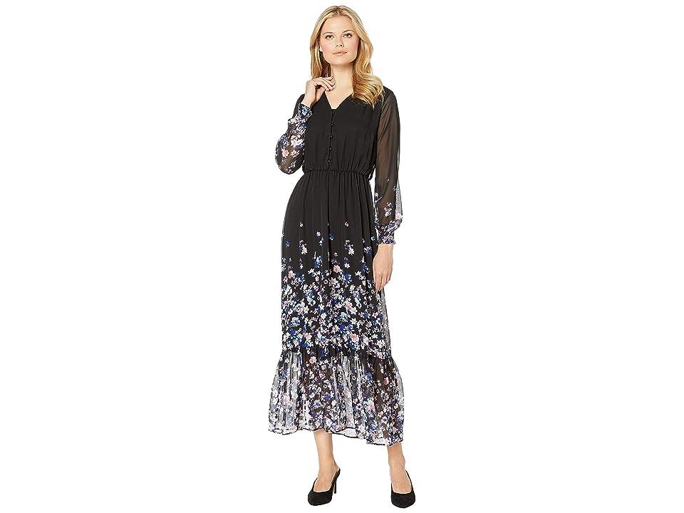 eci Long Sleeve Floral Printed V-Neck Maxi Dress (Black/Multi) Women
