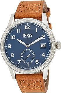 Hugo Boss Mens Quartz Watch, Analog Display and Leather Strap 1513668
