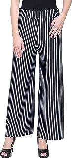 DAMEN MODE Women's Loose Fit Trouser (DMSSP2000_Black_Black & White_Free Size)