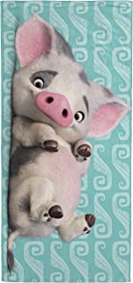 Jay Franco Disney Moana Happy Pua Kids Bath/Pool/Beach Towel - Featuring Pua Pig - Super Soft & Absorbent Fade Resistant Cotton Towel, Measures 28 inch x 58 inch (Official Disney Product)