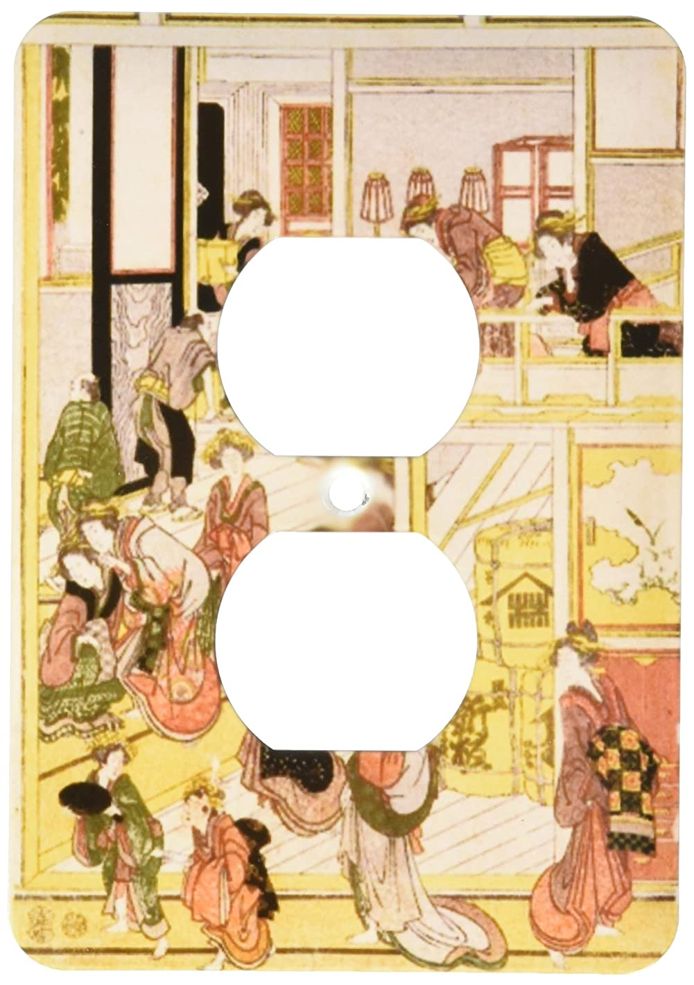 3dRose lsp_163490_6 Image of Vintage Woodcut Painting of People Preparing for New Years 2 Plug Outlet Cover