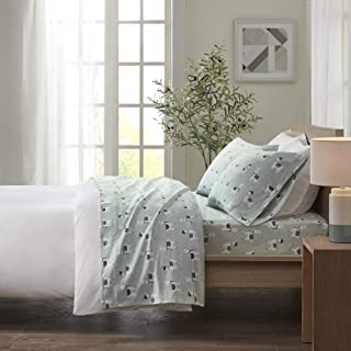 True North by Sleep Philosophy Cozy Flannel 100% Cotton Ultra Soft, Cold Weather Sheet Set Bedding, Queen, Seafoam Llama 4 Piece
