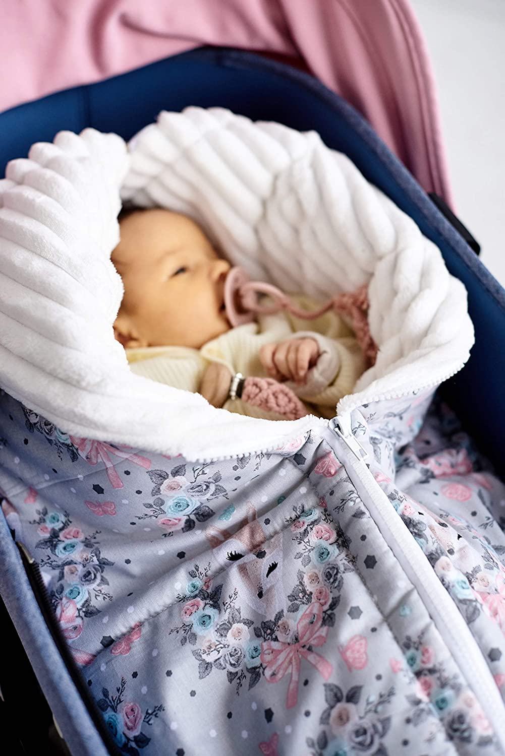 Max 90% OFF Newborn Sleeping Bag with Flowers Pink Roses Blanket Store babies for