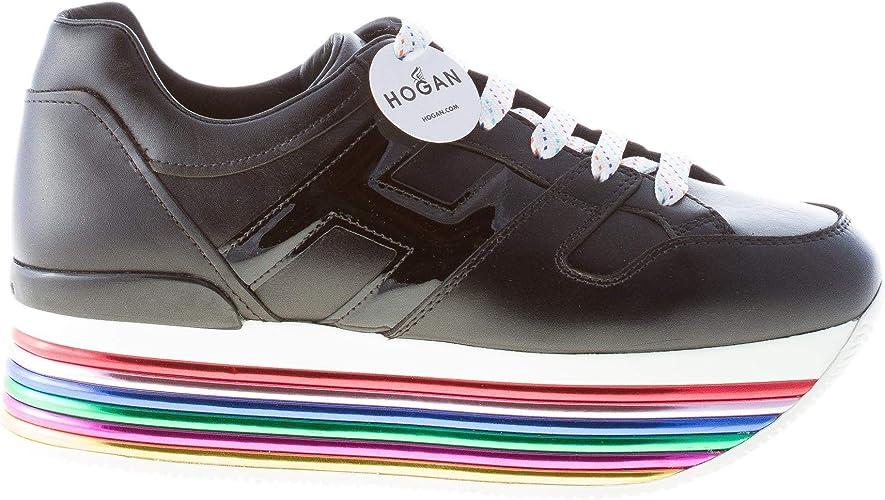 Hogan Donna Maxi H222 Sneaker in Pelle Nero con Suola Maxi ...