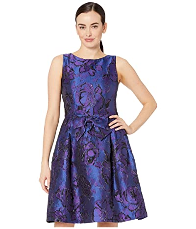Tahari by ASL Sleeveless Bow Front Printed Jacquard Party Dress (Purple Royal Floral) Women