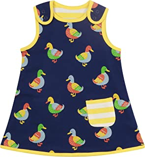 Piccalilly Robe réversible pour fille en jersey doux pour enfant 6-12 mois jusqu'à 4 ans Bleu marine