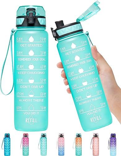 Elvira 32oz Motivational Fitness Sports Water Bottle with Time Marker & Removable Strainer,Fast Flow,Flip Top Leakpro...