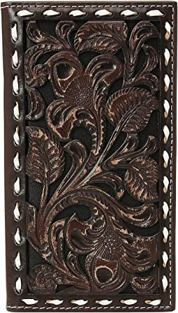 Floral Embossed with Buckstitch Lace Rodeo Wallet