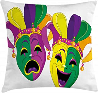 Ambesonne Mardi Gras Throw Pillow Cushion Cover, Traditional Masks of Tragedy and Comedy Festival Celebration Masquerade Theme, Decorative Square Accent Pillow Case, 18