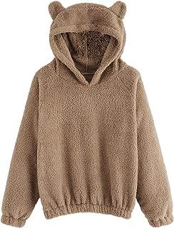 Women's Long Sleeve Pullovers Hoodie Cute Teddy Ear Hooded Sweatshirt