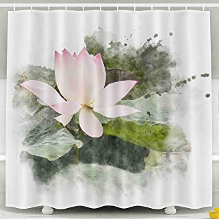 ROOLAYS 78 Shower Curtain,Shower Curtain, Watercolor Painting Blossom Pink Lotus Artistic Floral Abstract Background Waterproof Decorative for Home Décor 78x72 Inch Bathroom Fabric Shower Curtains