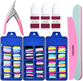 کیت رنگ آمیزی رنگ آمیزی اکریلیک ناخن ، 300PCS (3 جعبه) ست ناخن کاغذی رنگی با چسب ناخن ، ست ناخن حرفه ای بالرینا ، ناخن های تقلبی جلد کامل ، ناخن گیر ، بافر ناخن