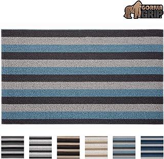 Gorilla Grip Premium Loop Doormat, 24x16, Soft Decorative Striped Scraper Door Mats, Durable Backing, Heavy Duty Tufted Bristles Mat for Indoor, Outdoor Entrance, Easy Clean, Turquoise and Gray