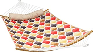 Sunnydaze Quilted 2-Person Hammock with Curved Bamboo Spreader Bars, Heavy-Duty 450-Pound Weight Capacity, Red and Gold Quatrefoil
