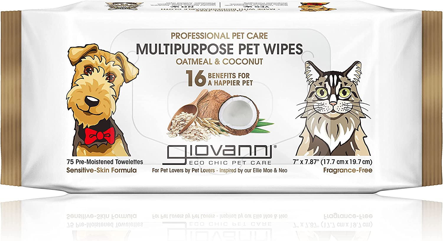 GIOVANNI Multipurpose Pet Wipes Max 84% OFF Pack Coc 75 of Oatmeal – Very popular