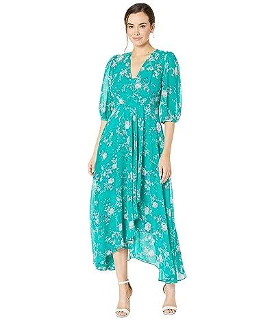 Calvin Klein 3/4 Sleeve Floral Maxi (Jungle Multi) Women