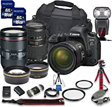 Canon EOS 6D Mark II DSLR Camera Bundle with Canon EF 24-105mm f/4L is II USM Lens + Tamron 70-300mm f/4-5.6 Telephoto Lens + 2pc PROSPEED 16GB Memory Cards + Premium Accessory Bundle Kit (18 Items)