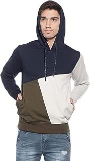 Alan Jones Men's Cotton Color Block Hooded Sweatshirt
