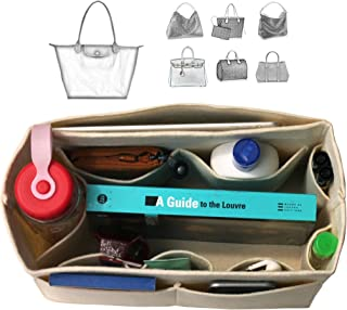 [Fits Long.champ Bags] Felt Tote Organizer (w/Milk Water Bottle Holder), Bag in Bag, Wool Purse Insert, Customized Tote Organize, Cosmetic Makeup Diaper Handbag