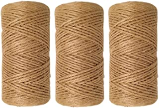 Quotidian 1000 Feet (c. 333 Yards) 2mm 3 ply Natural Jute Twine String Rolls for Artworks and Crafts, Gift Wrapping, Picture Display and Gardening (2mm)